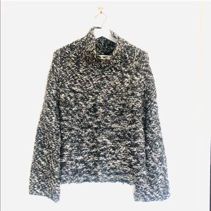 Limited Marled Bell Sleeve Turtleneck Wool Sweater